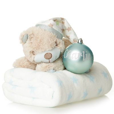 Blue Teddy with Blanket and Bauble Gift Pack