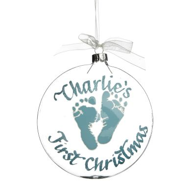 Personalised Baby's First Christmas Blue Foot Print Disc