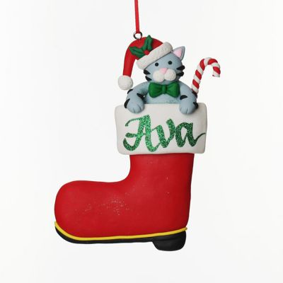 Personalised Cat in Santa Boot Christmas Decoration front