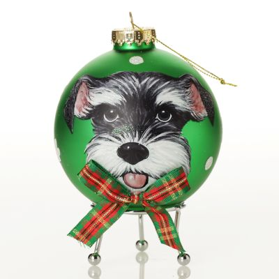 Personalised Dog with Bow Tie Green Christmas Bauble