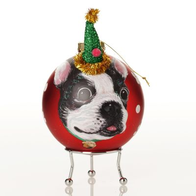 Personalised Dog with Party Hat Red Christmas Bauble