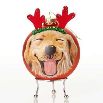 Personalised Dog with Reindeer Ears Copper Christmas Bauble