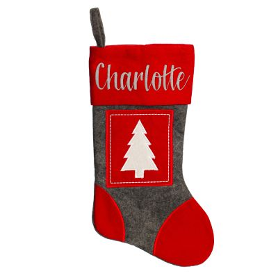 Grey and Red Felt Stocking and Bauble Pack