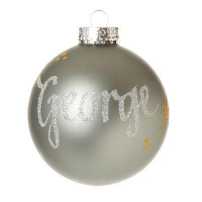 Grey Glass Personalised Christmas Baubles