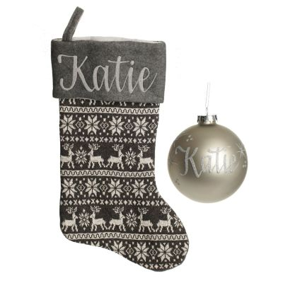 Grey Knitted Stocking and Bauble Pack