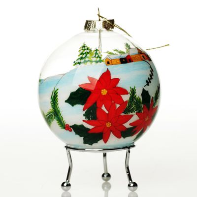 Personalised Inside Painted Santa with Stocking Christmas Bauble