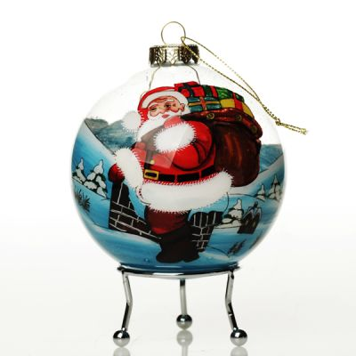 Personalised Inside Painted Santa with Sack Christmas Bauble Whole product