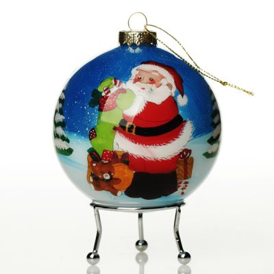 Personalised Inside Painted Santa with Stocking Christmas Bauble Whole product