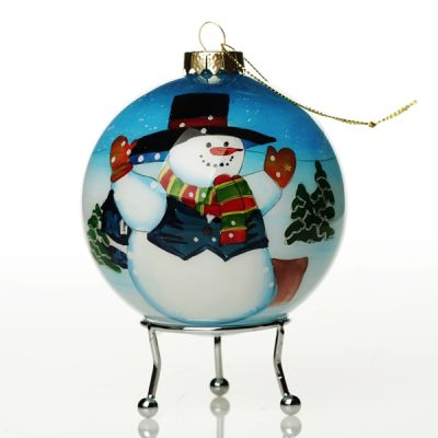 Personalised Inside Painted Snowman Christmas Bauble Whole product