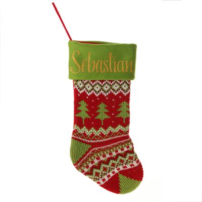 Personalised Knitted Tree Christmas Stocking - Green Cuff
