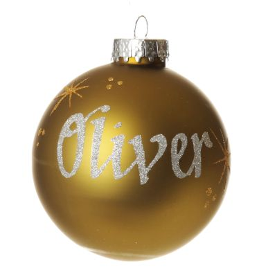 Olive Green Glass Personalised Christmas Baubles