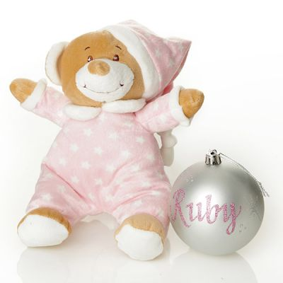 Pink Starbright Teddy and Bauble Gift Pack