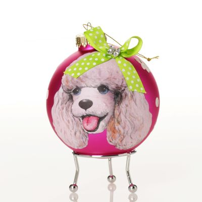 Personalised Poodle Dog Hot Pink Christmas Bauble