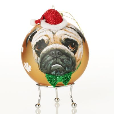 Personalised Pug Dog with Santa Hat Gold Christmas Bauble
