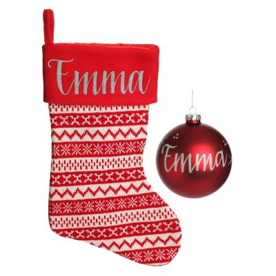 Red Knitted Stocking and Bauble Pack