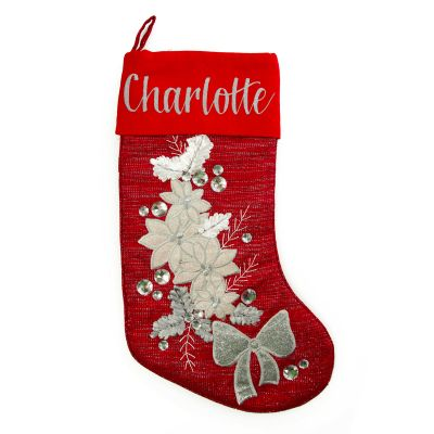 Personalised Red Poinsettia Stocking