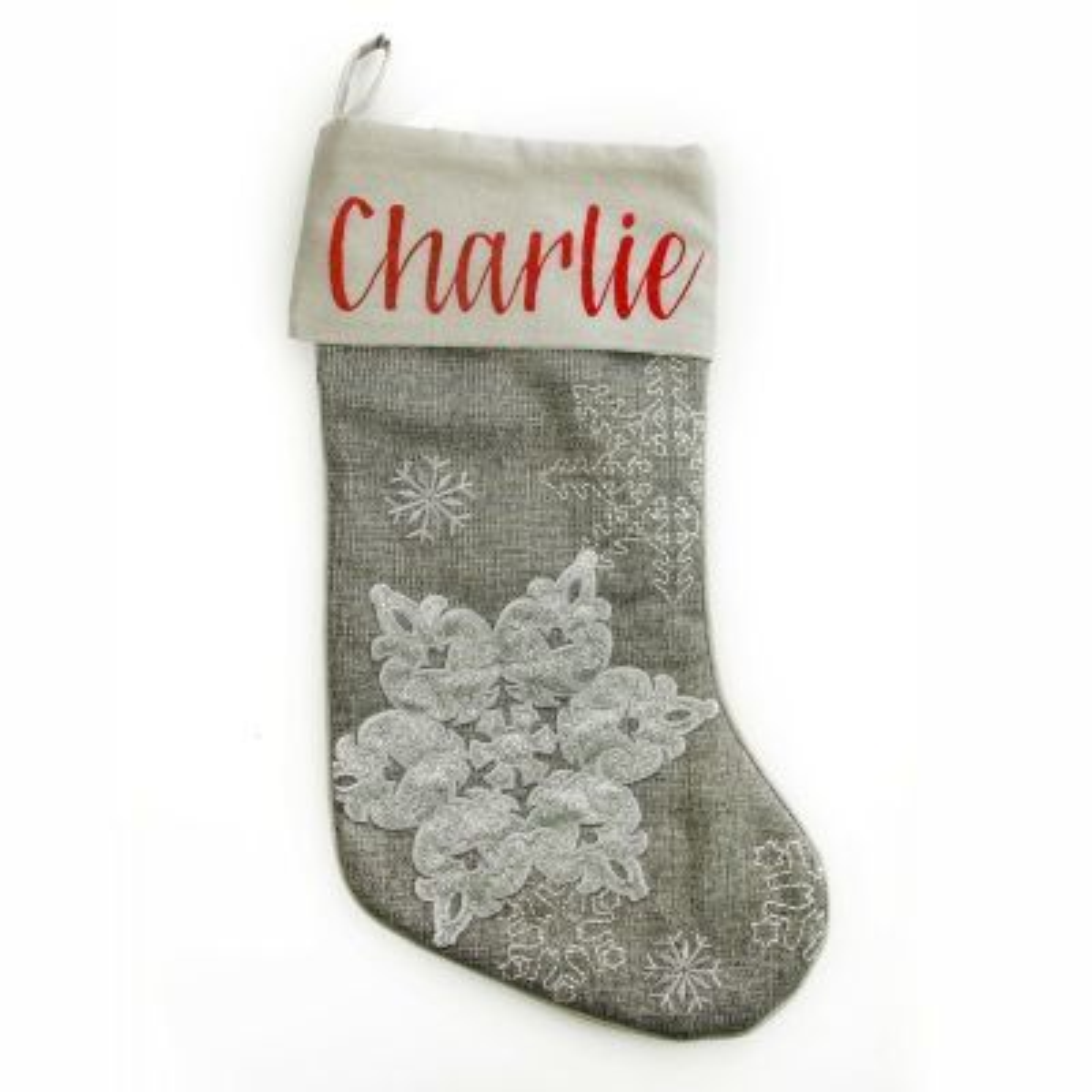Personalised Silver Snowflake Christmas Stocking