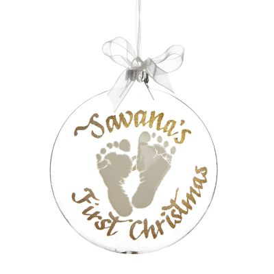Personalised Baby's First Christmas White Foot Print Disc