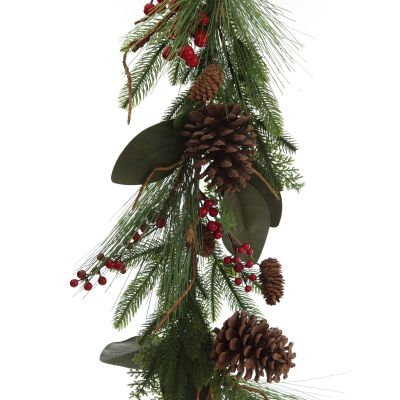 Pinecone and Red Berry Mixed Leaf Christmas Garland