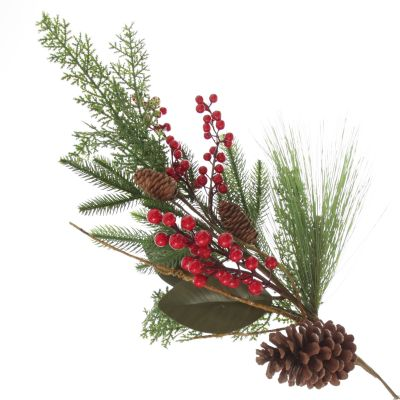 Pinecone and Red Berry Mixed Leaf Christmas Spray