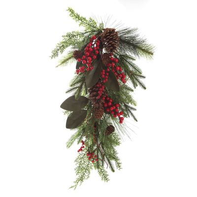 Pinecone and Red Berry Mixed Leaf Christmas Teardrop Swag