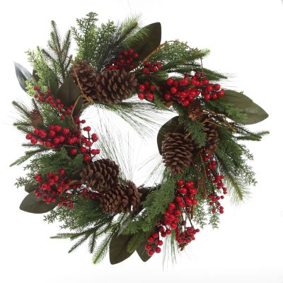 Pinecone and Red Berry Mixed Leaf Christmas Wreath