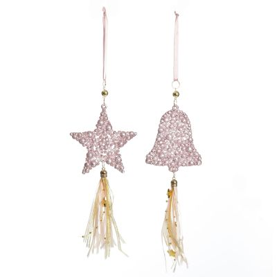 Pink Beaded Star and Bell Tree Decorations - Set of 2