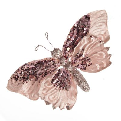 Pink Butterfly Clip with Sequins