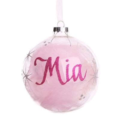 Pink Feather Clear Glass Personalised Christmas Bauble