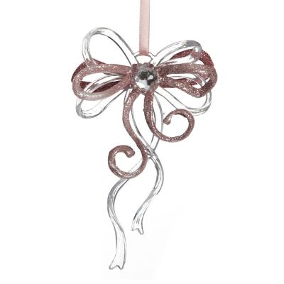 Pink Glitter and Clear Acrylic Bow Tree Decoration