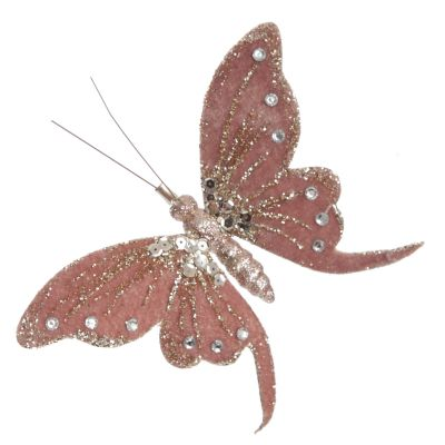 Pink with Gold Glitter Butterfly Clip