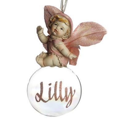 Pink Gumnut Baby Personalised Christmas Bauble Whole product
