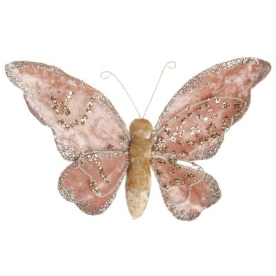 Light Pink Velour Butterfly Clip front detail