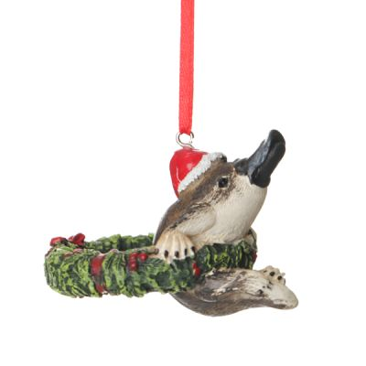 Platypus in Wreath Australiana Christmas Tree Decoration