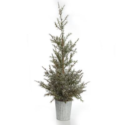 Potted Christmas Pine Tree with Snowy Top