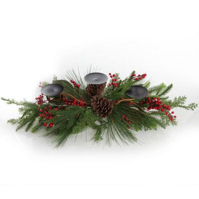 Pinecone and Red Berry Mixed Leaf Christmas Table Centrepiece Candle Holder