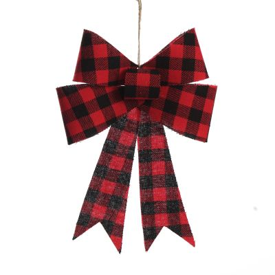Black and Red Gingham Check Bow