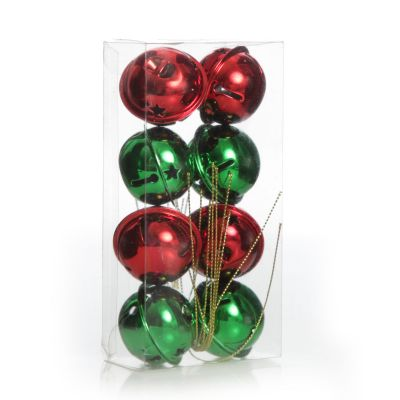 Red and Green 4cm Jingle Bell Decorations - Box of 8