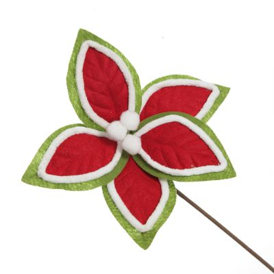 Red and Green Felt Flower Stem with Fur Trim
