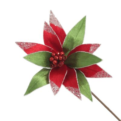 Red and Green Ribbed Flower Stem with White Glitter Trim and Sequins