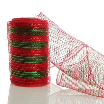 Red and Green Striped Christmas Decomesh