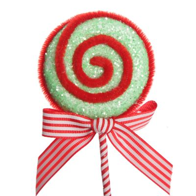 Red and Mint Green Glitter Lollipop Christmas Pick