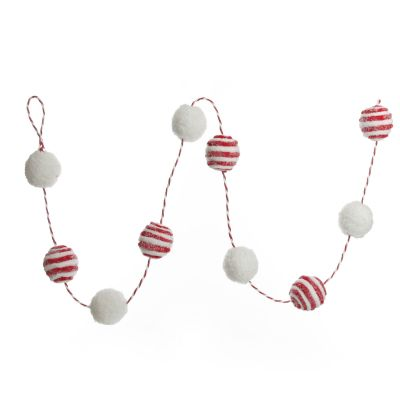 Red and White Candy Cane Stripe Ball Garland