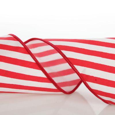 Red and White Candy Cane Stripe Christmas Ribbon Garland
