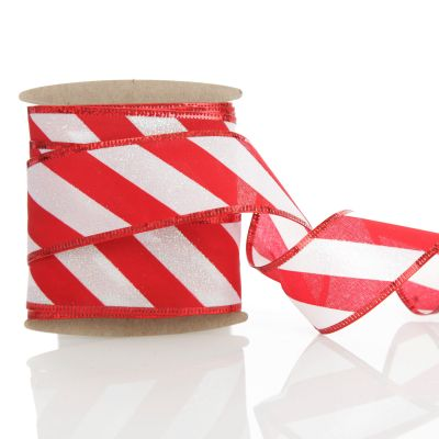 Red and White Candy Cane Striped Glitter Wired Ribbon - 3.8cm