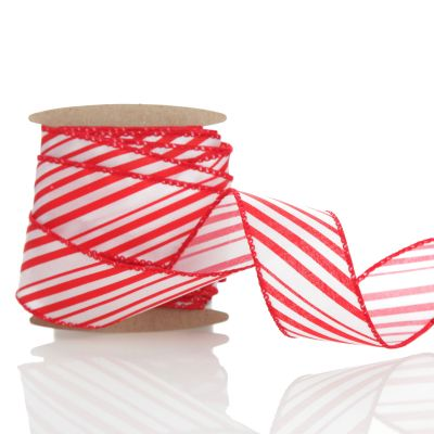 Red and White Peppermint Striped Wired Ribbon - 3.8cm