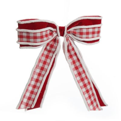 Red and White Check Christmas Bow with Fur Trim