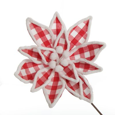 Red and White Check Flower Stem with Fur Trim