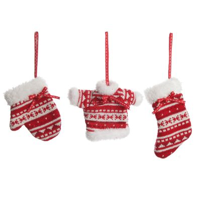 Red and White Knitted Christmas Tree Decorations - Set of 3