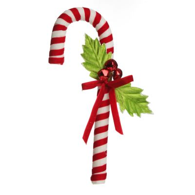 Red and White Velvet Candy Cane with Holly Christmas Decoration